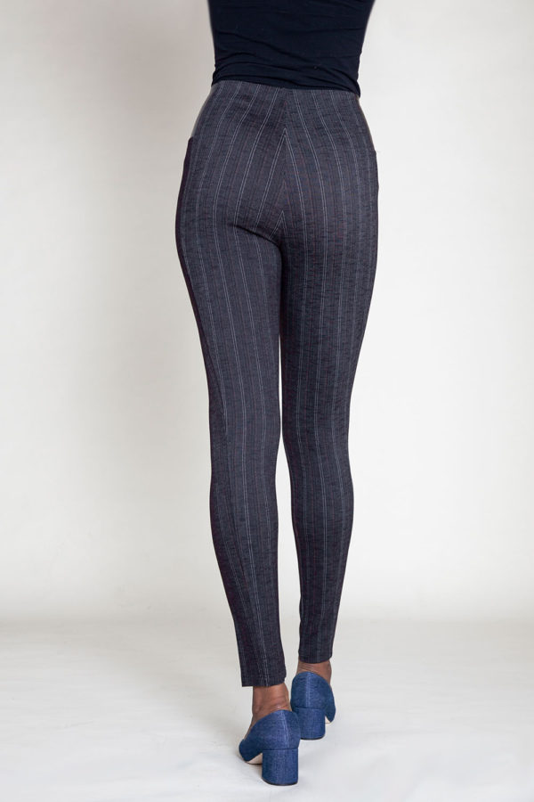 BLACK PINSTRIPE JEGGINGS- BACK