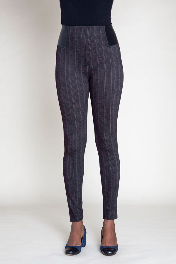 BLACK PINSTRIPE JEGGINGS- FRONT