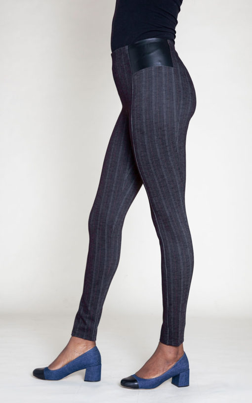 BLACK PINSTRIPE JEGGINGS- SIDE