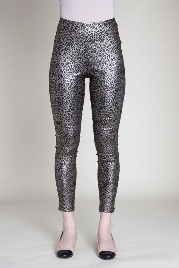animal printed jeggings- front