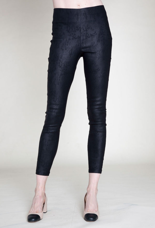 animal printed black jeggings- front