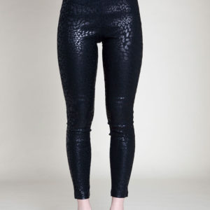 LEOPARD PRINT SHINY BLACK LEGGINGS- FRONT