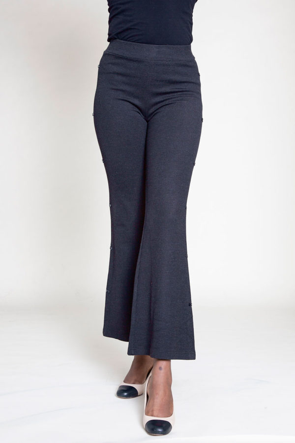 FULL LENGTH BLACK FLARE PANTS- BACK