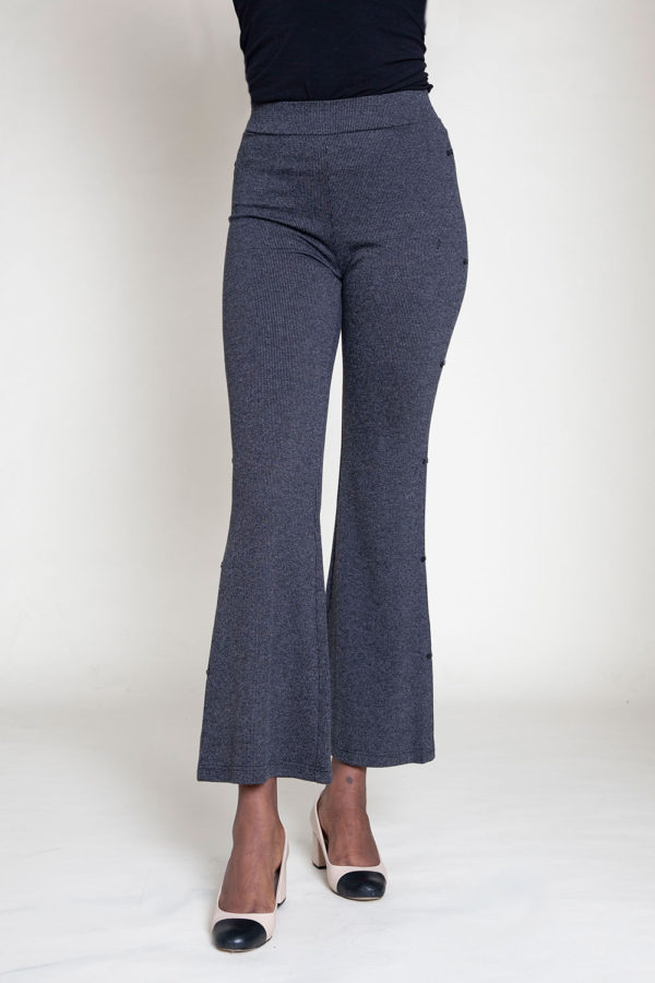 FULL LENGTH GREY FLARE PANTS- FRONT