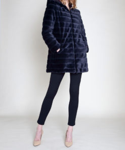 REVERSIBLE FAUX FUR PUFFY BLACK JACKET- FRONT