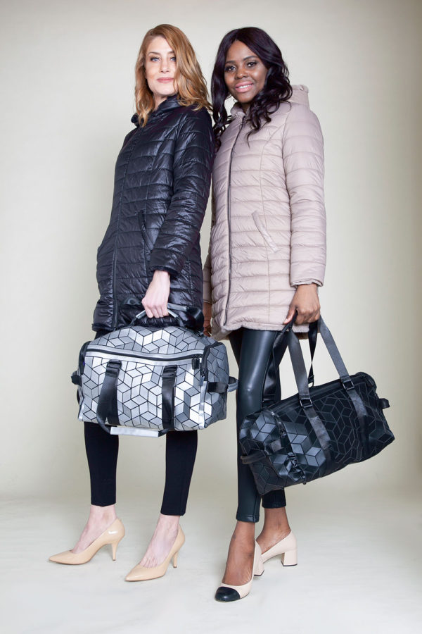 REVERSIBLE FAUX FUR PUFFY BLACK AND TAUPE JACKET- FRONT