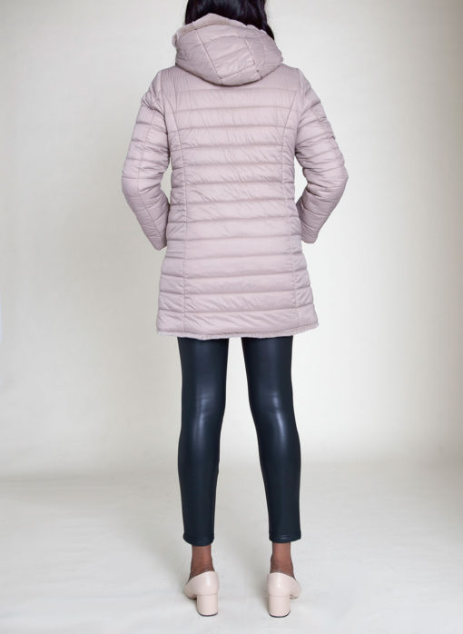 REVERSIBLE FAUX FUR PUFFY TAUPE JACKET- BACK
