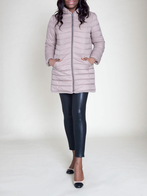REVERSIBLE FAUX FUR PUFFY TAUPE JACKET- FRONT