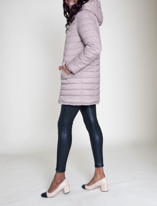 REVERSIBLE FAUX FUR PUFFY TAUPE JACKET- SIDE