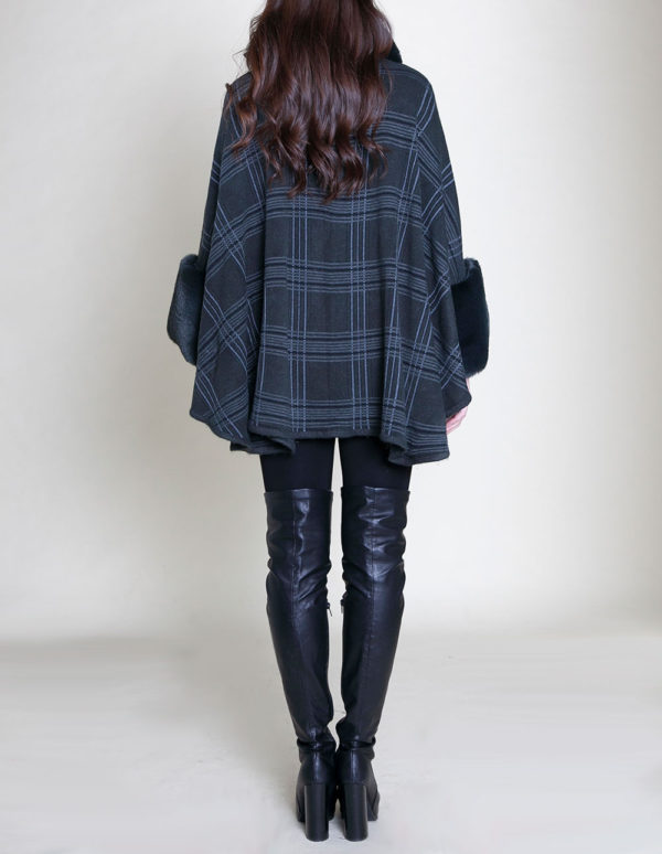 green plaid faux fur poncho- back