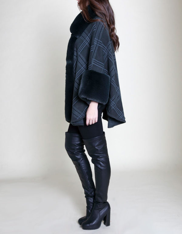green plaid faux fur poncho- side
