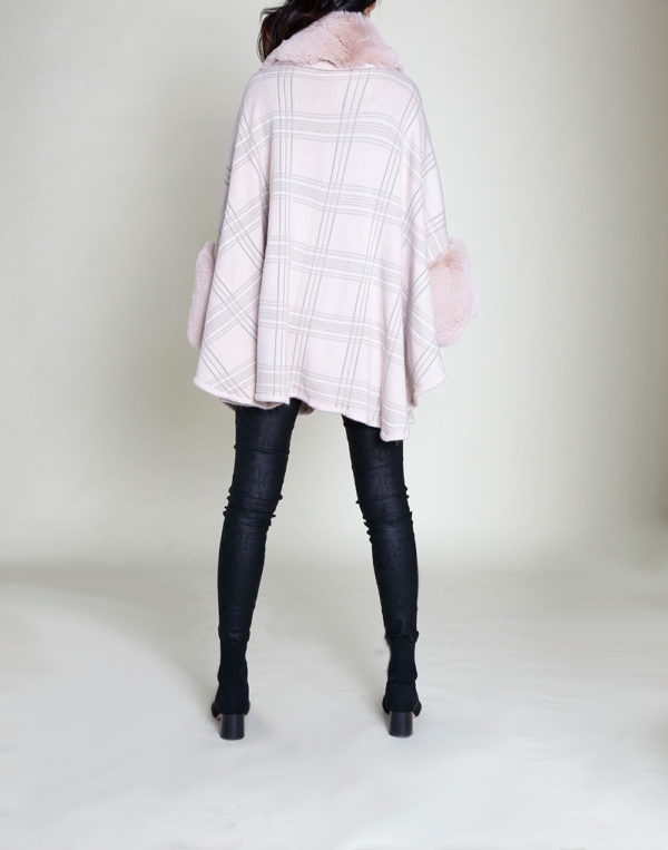 pink plaid faux fur poncho- back