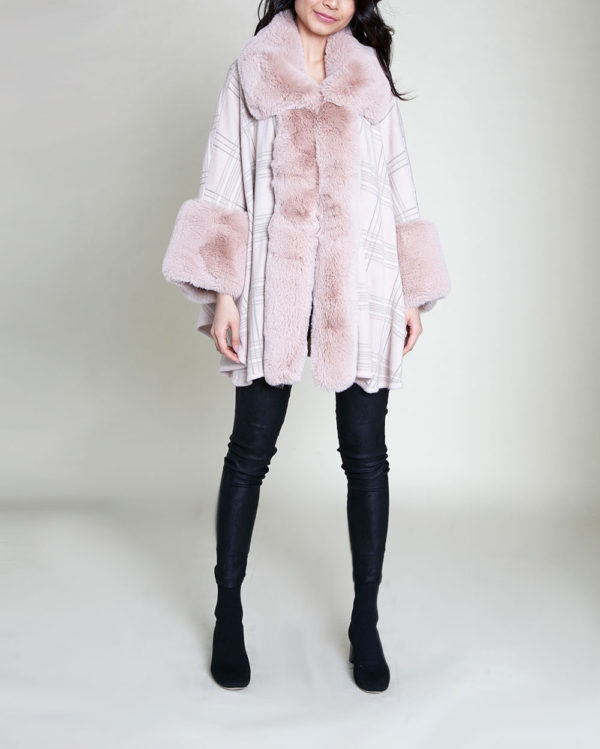 pink plaid faux fur poncho- front