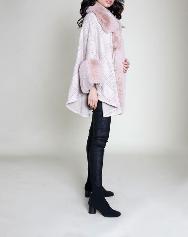 pink plaid faux fur poncho- side