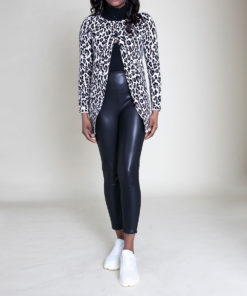 CHEETAH PRINT OPEN KNIT CARDIGAN- FRONT