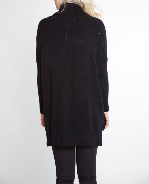 black turtleneck knit sweater- back