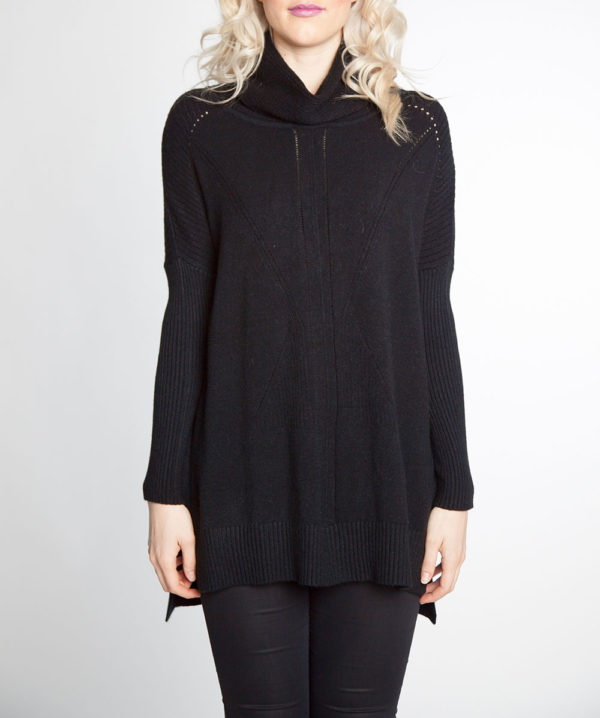 black turtleneck knit sweater- front