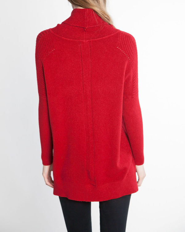 red turtleneck knit sweater- back