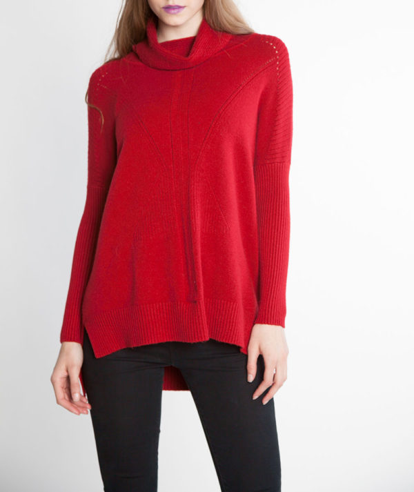 red turtleneck knit sweater- front