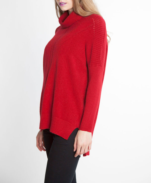 red turtleneck knit sweater- side