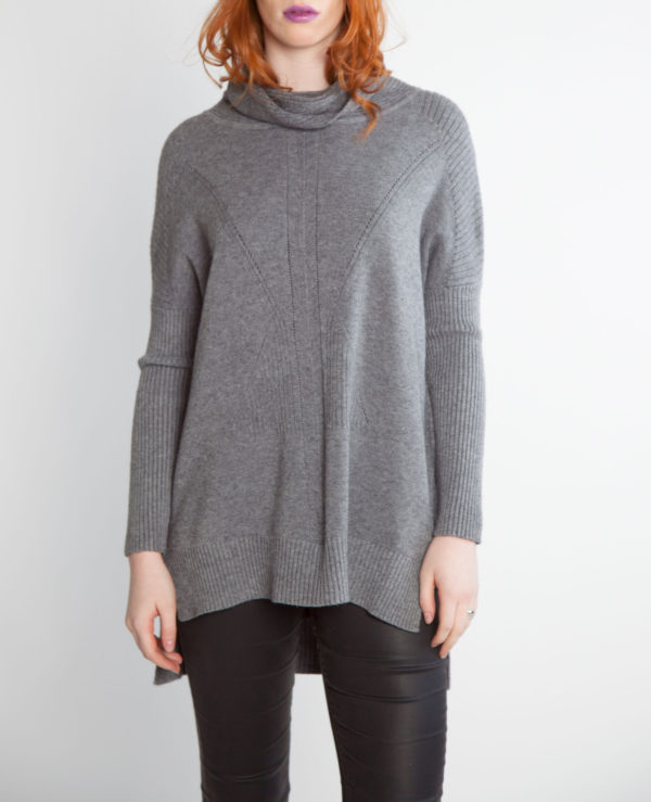grey turtleneck knit sweater- front