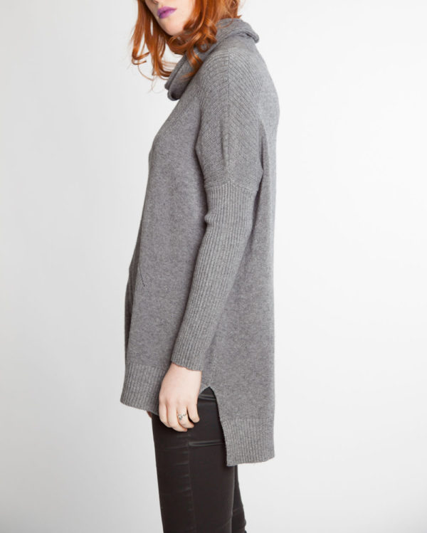 grey turtleneck knit sweater- side