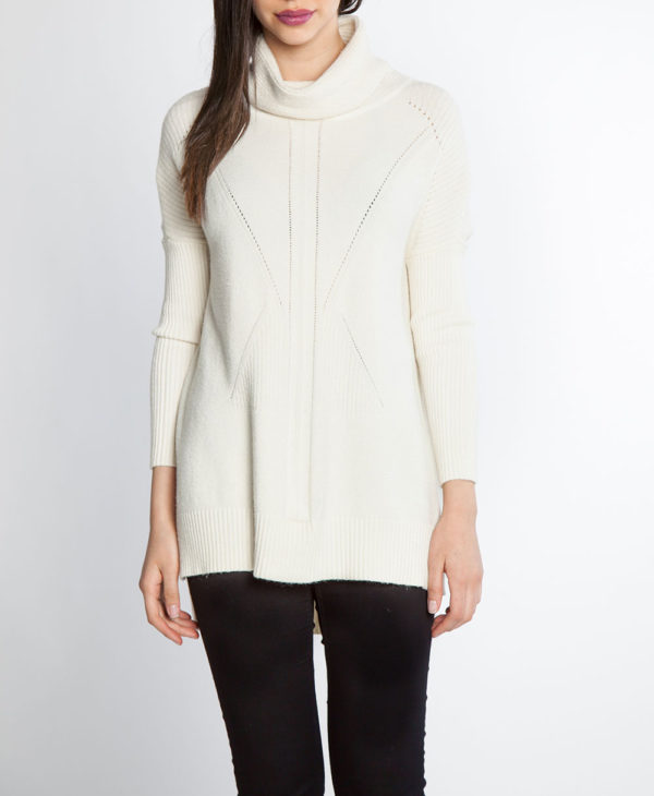 white turtleneck knit sweater- front