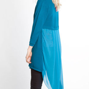 TEAL CHIFFON BACK KNIT CARDIGAN- BACK