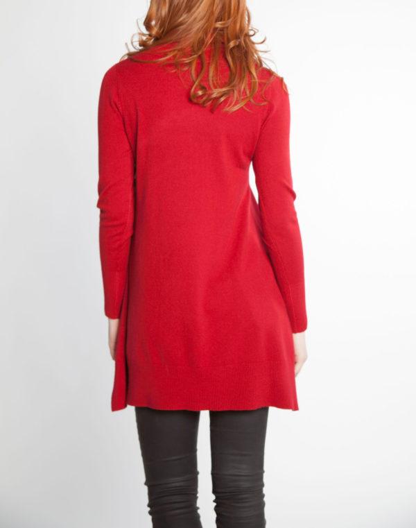 blood red OSFA knit turtleneck sweater- back