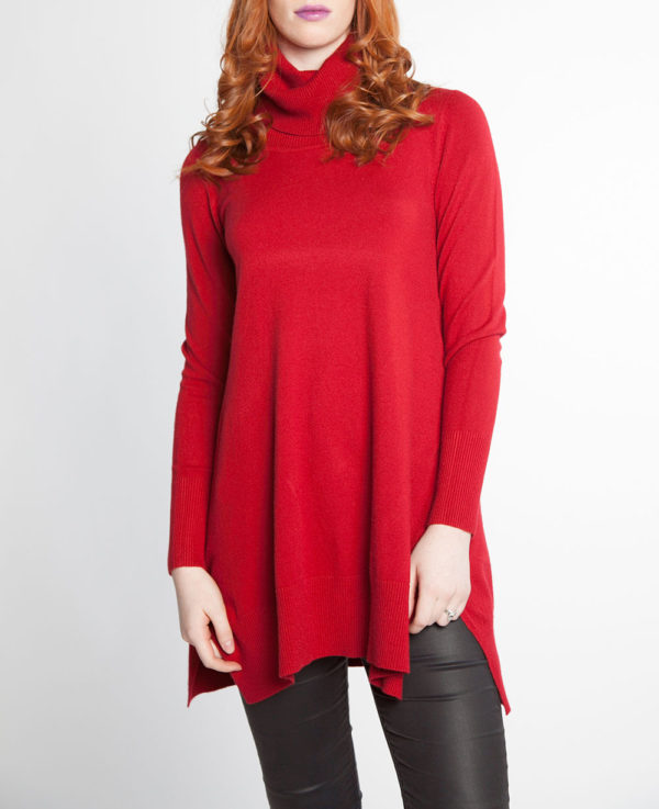 blood red OSFA knit turtleneck sweater- front