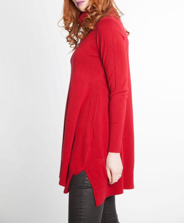 blood red OSFA knit turtleneck sweater- side