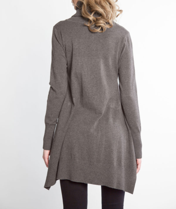 charcoal grey OSFA knit turtleneck sweater- back