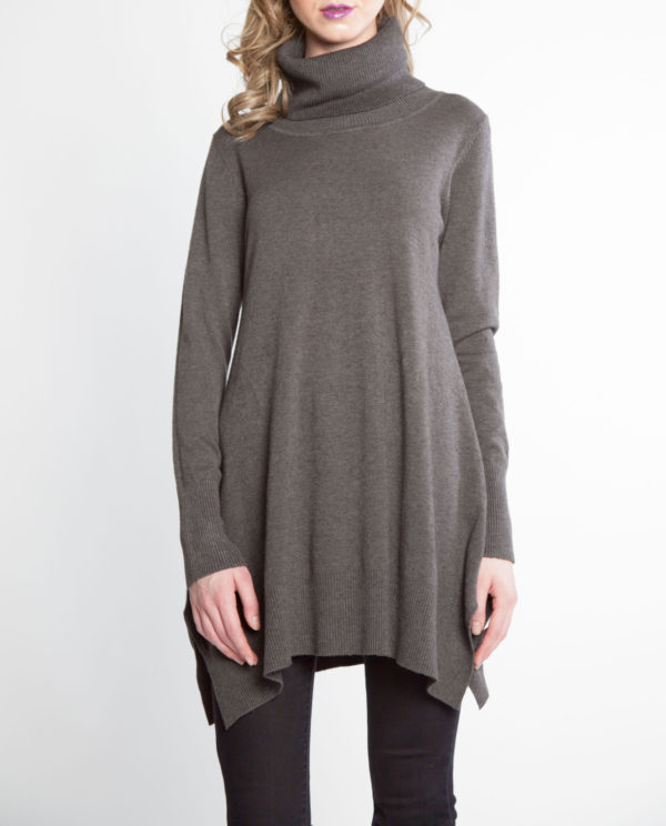 charcoal grey OSFA knit turtleneck sweater- front