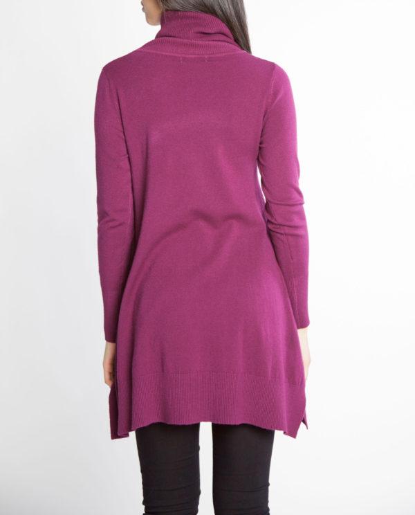 plum purple OSFA knit turtleneck sweater- back