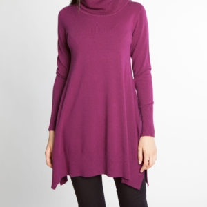 plum purple OSFA knit turtleneck sweater- front