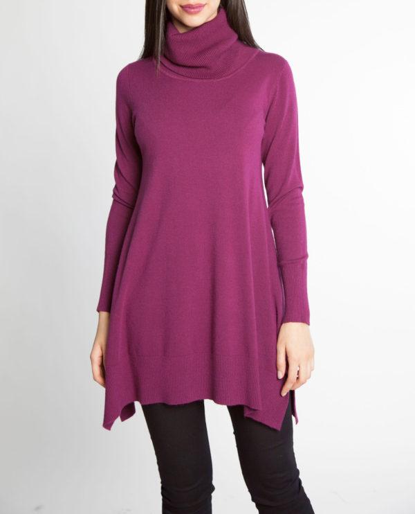 plum purple OSFA knit turtleneck sweater- front