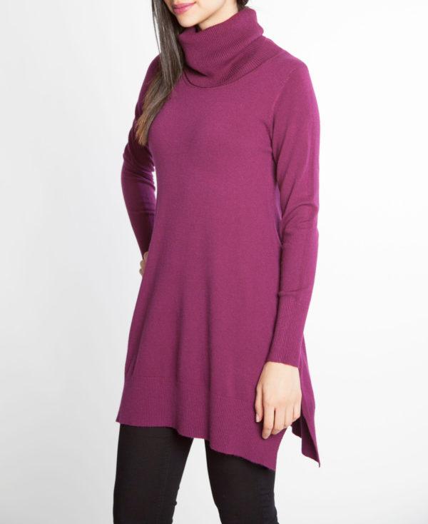 plum purple OSFA knit turtleneck sweater- side