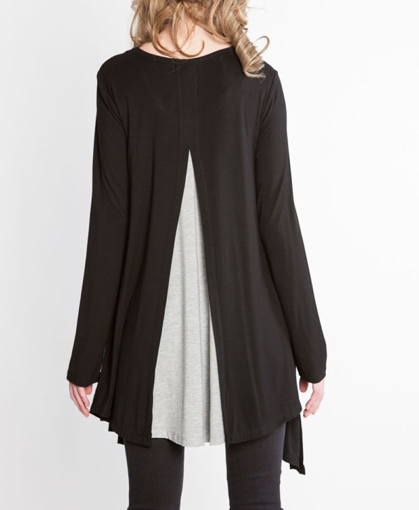 black and grey long sleeve layered top- back