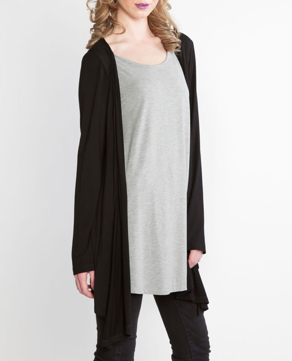 black and grey long sleeve layered top- side