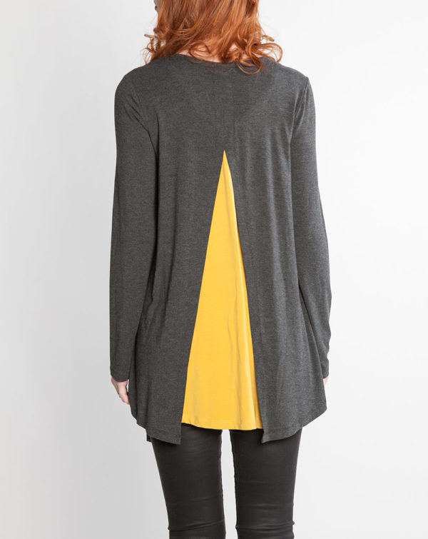 charcoal grey and mustard yellow long sleeve layered top- back