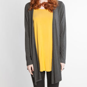 charcoal grey and mustard yellow long sleeve layered top- front