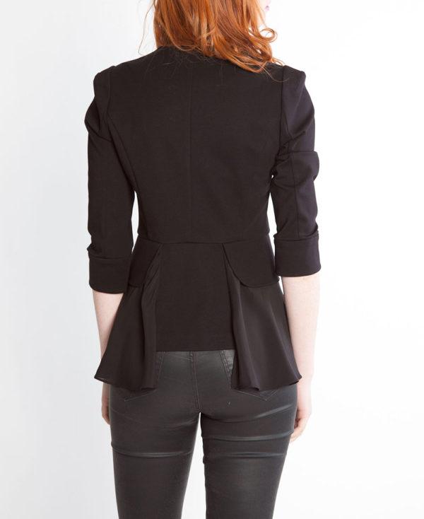 black peplum zip front jacket- back