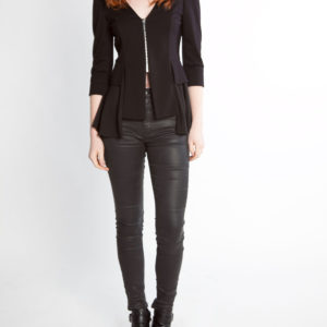black peplum zip front jacket- front