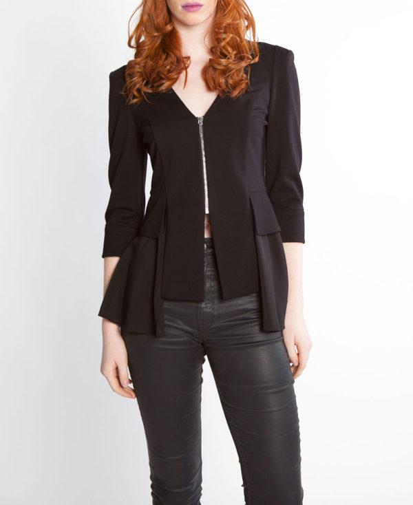 black peplum zip front jacket- front