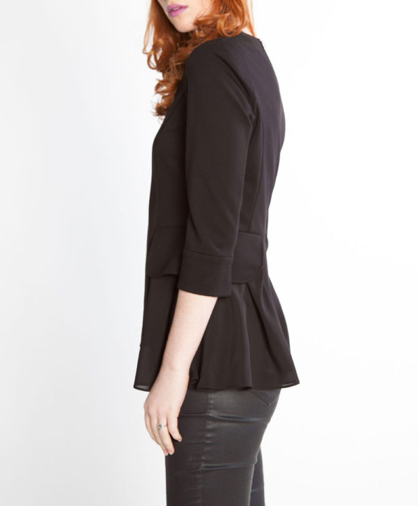 black peplum zip front jacket- side