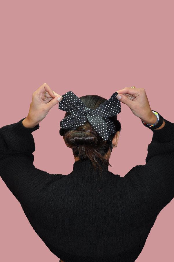 black and white polka dot bow mask- back
