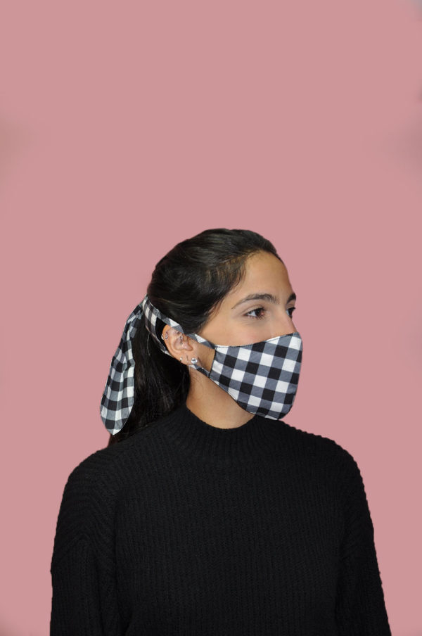 black and white gingham bow mask- sifr