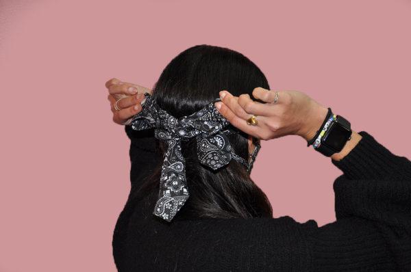 black and white paisley bandana bow mask- back