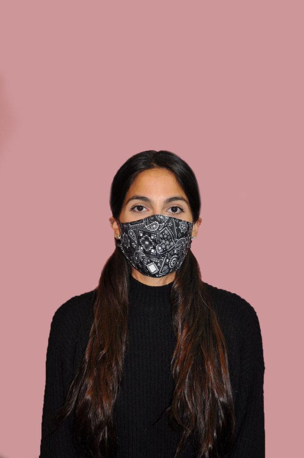 black and white paisley bandana bow mask- front