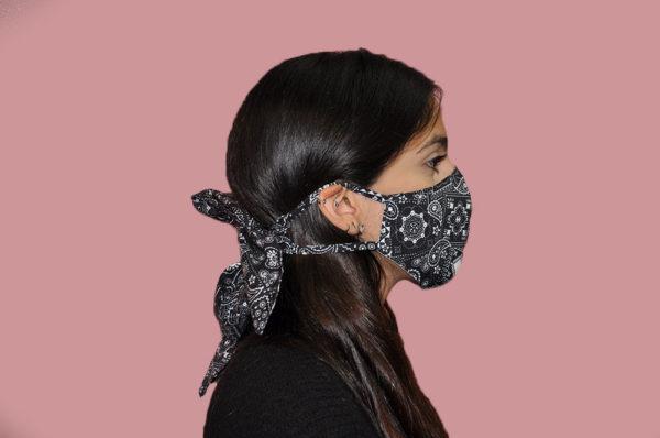 black and white paisley bandana bow mask- side